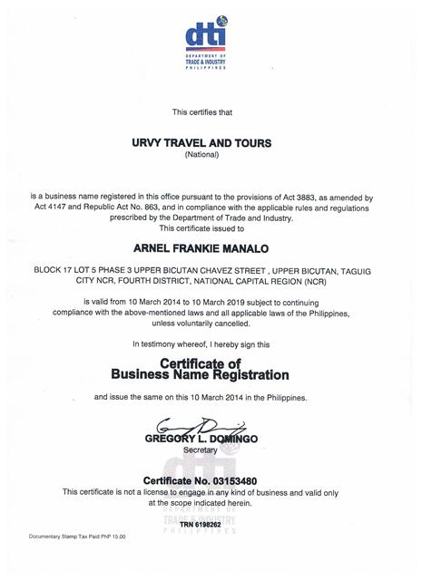 URVY Travel and Tours-DTI
