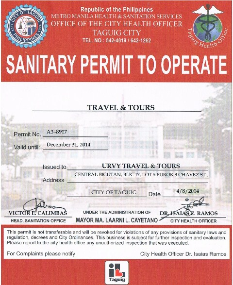 URVY Travel and Tours-Sanitary permit