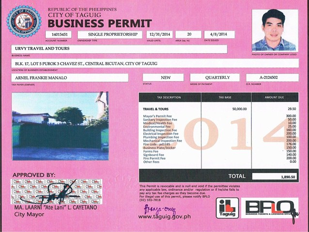 URVY Travel and Tours permit