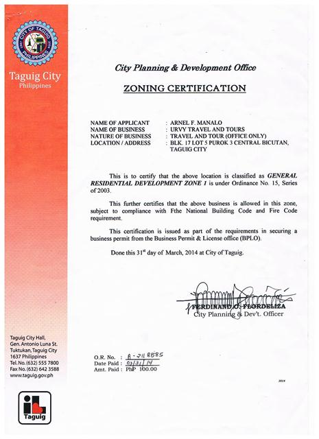 URVY Travel and Tours- Zoning Cert